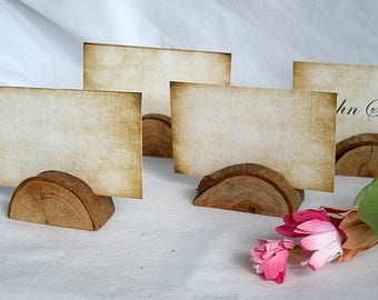 Wood Place Card Holders Wood Log Slice Card Holder Vintge Rustic Tuscany Greeenery Garden Woods Theme Card Holders w Matching Place Cards