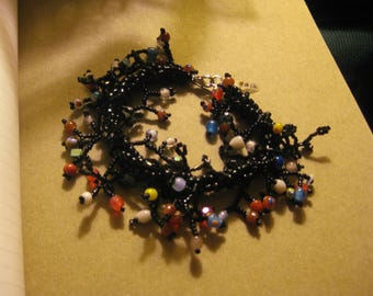 Black Beaded Twiggy Bracelet with Multi-colored Beads