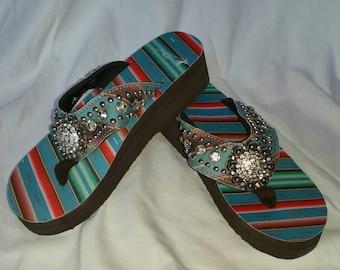 Beachy Wedge Flip Flops, blue tones