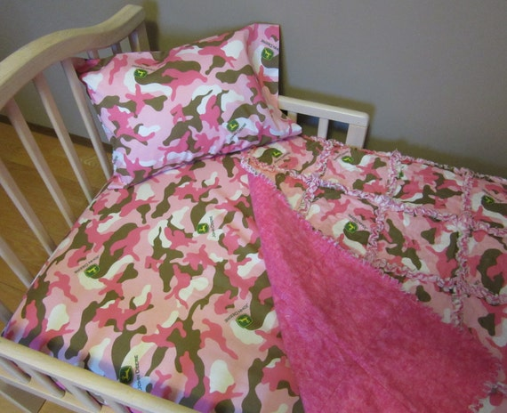 Pink Camo JOHN DEERE Fabric Crib Bedding Baby Or Toddler