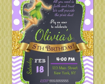 Tinkerbell Birthday Invitation, Tinkerbell Invitations, DIY printables