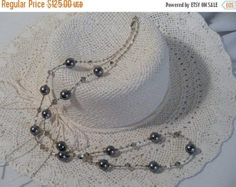 ON SALE 20% OFF Beaded Long Necklace, Silver Swarovski Crystal Pearls and Bicones, .925 Sterling Silver