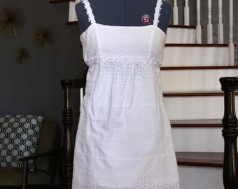 Vintage Short Wedding Dress - White Eyelet Cotton Dress - Strap Dress with Lace - Dress For a Casual Wedding - Made in USA - Size Small