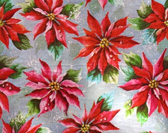 Vintage Kaycrest CHRISTMAS Gift Wrap - Wrapping Paper - Beautiful POINSETTIAS - with coordinating gift tag - 1950s