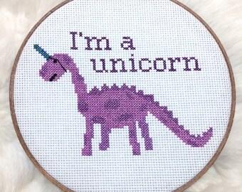 I'm A Unicorn, Imposter Dinosaur Cross Stitched Home Decor, Finished Piece