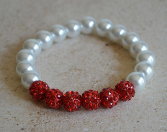 Red and White Pearl Stretch Bracelet