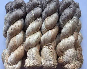 Hand Beaded & Dyed Mulberry Silk Yarn // TAUPE - Greige, Light Bronze, Champagne // Approx 220 yards per skein // 1 Skein