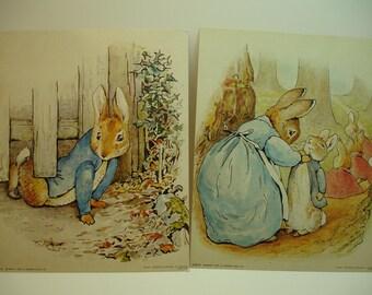 Original 1987 Beatrix Potter, Peter Rabbit themed Art Prints,  #6915 & #6916, unframed 8 x 10, printed in Japan, vintage Frederick Warne