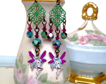 Fairy earrings, fairy jewelry, fantasy jewelry, metal jewelry, hand painted earrings, colorful fairy earrings, nature jewelry