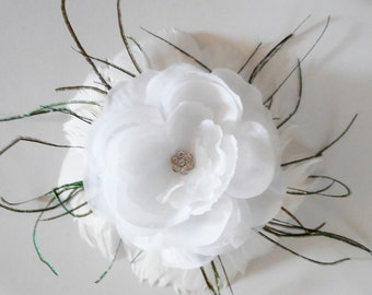 White Crystal Rose Feathered Hair Clip - Hair fascinator, white feather clip, bridal fascinator, White Fascinator, Feather Fascinator
