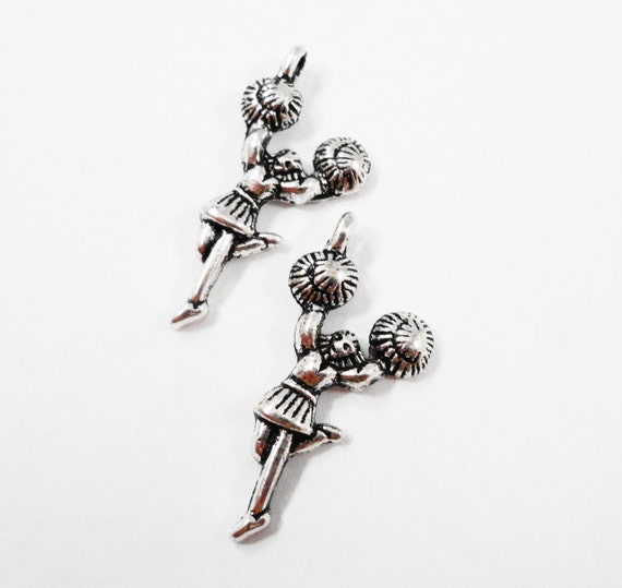 Silver Cheerleader Charms 27x8mm Antique Silver Cheerleader Pendants, Cheerleading Charms, Sport Charms, School Charms, Metal Charms, 10pcs