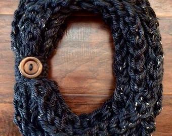 Crochet Gray Tweed Rope Scarf