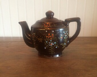 Vintage made in Japan Brown Glaze Small Teapot Japanese Teapot Redware Ceramic Teapot
