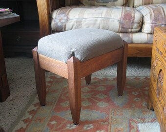 Mahogany Footstool Upholstered with Two Inch Dense Foam and Heavy Wool