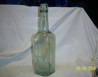 1910's Primrose Western Meat Co 11 1/4 inch tall aqua Food Condiment Food sauce bottle