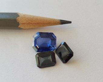 Vintage crystals 6x8  8x10  blue and dark green