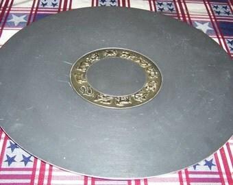 Kensington Ware Aluminum Brass Inlay ZODIAC 18 Inch ROUND TRAY