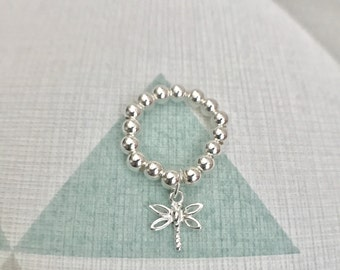 Sterling Silver Dragonfly Stack Ring - Stretch ring, Mid Ring, Ring, Dragonfly Ring, Charm Ring, Sterling Silver, Bead Ring, Modern