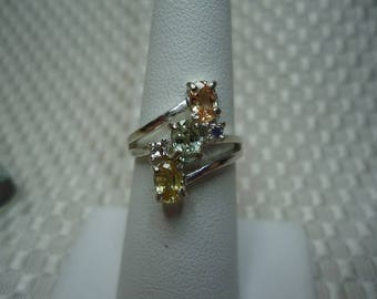 Oval Cut Peach Green and Yellow Ceylon Sapphire Three Stone Ring in Sterling Silver  #1987