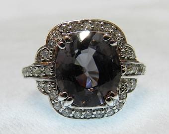Vintage Diamond Engagement Ring 14K Purple Spinel Ring Diamond Halo Ring 2.5 Ct Spinel Ring Anniversary Ring Art Deco Ring 14K Ring
