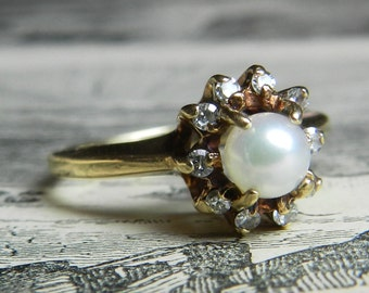 Pearl Ring Diamond Halo Pearl Ring Pearl Engagement Vintage 10K Gold 4 mm Cultured Pearl Diamond Halo Ring June Birthday Art Deco Pearl Ring