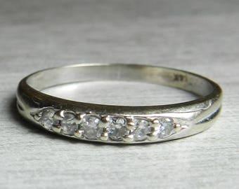 Diamond Stacking Ring 14K  .30 Ct Diamond Wedding Band White Gold Deco Diamond Eternity Diamond Band Diamond Stacking Ring