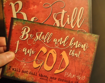 2x contemporary art print comfort encouragement card christian bible verse Be still and know that I am God Psalm 46:10 scripture A6