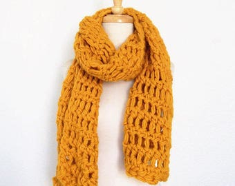THE MANHATTAN // Crocheted Chunky Textured Oversized Scarf // Mustard Yellow // Accessories // Handmade Knitwear