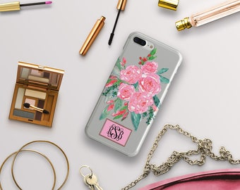 Pretty iPhone case with clear back, Pink floral design, Your initials personalized, Phone cover for women, Pink and green fashion (1774)