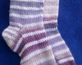 Pink stripey woollen handknitted mens / ladies sassi boot / festival socks