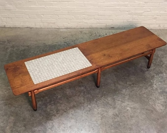 Lane Monte Carlo Mid Century Modern Coffee Table With Tile Inlay 70 Long