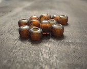 9mm Translucent Brown Glass Crow Beads ~ one package of 50 pieces