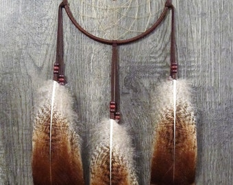 Dream Catcher Chocolate Brown Deerskin with Rare Heritage Turkey Feathers