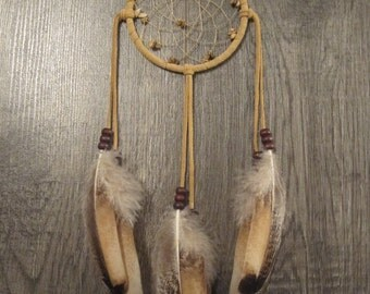 Buckskin Suede Dream Catcher with Rare Heritage Turkey Feathers