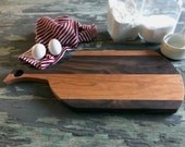 18 inch cutting board, cherry and walnut, small handmade cutting board