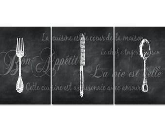 Parisian Kitchen Dining Room Art - French Themed Kitchen Print - Vintage Fork Knife Spoon - Chalkboard Look - Bon Appetit - La vie est belle