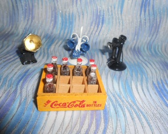 Collection OF Miniatures- Coca Cola Crate-Telephone-Phonograph-Mug Tree #3