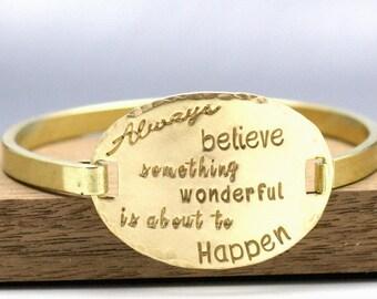 Hand Stamped Golden Brass Bangle Inspirational Message Bracelet Swing Top Bange Bracelet Hand Stamped Bracelet Hand Stamped Jewelry
