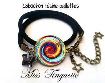 Bracelet tissus Haboutai noir,arc en ciel multicolore swirl spirale tourbillon,étoiles resine paillettes,soleil,été,cabochon résine 25mm