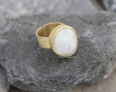 baroque pearl ring adjustable matte gold plated brass keshi keishi heshi heishi fresh water white unique  lotbyk