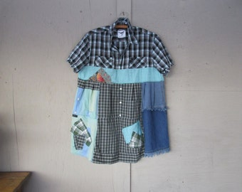 upcycled dress recycled tunic shirt repurposed Patchwork clothing wearable art sustainable dress L X Large Artsy Boho LillieNoraDryGoods