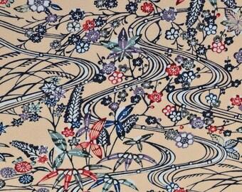 Shouchikubai Bingata Vintage Japanese Tango chirimen silk kimono fabric