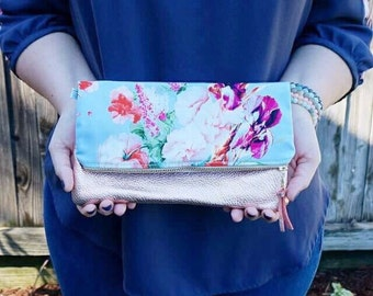 Floral Clutch, Leather Clutch, Foldover clutch, Leather Clutch, Vegan Leather Clutch, Gift for Her, Bridesmaid gift