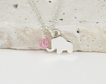 Silver Elephant Necklace, Baby Elephant Necklace, Tiny Elephant, Birthstone Necklace, Small Silver Elephant Charm Necklace |NB1-23