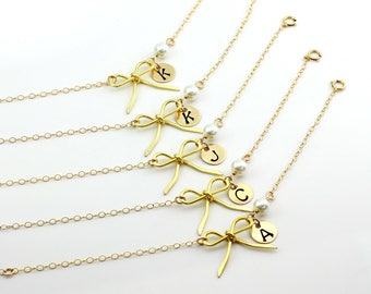 Free Shipping, Set of 10 personalized bow bracelets, Personalized gold filled bow bracelet, monogram bracelet, gift for her, handmade