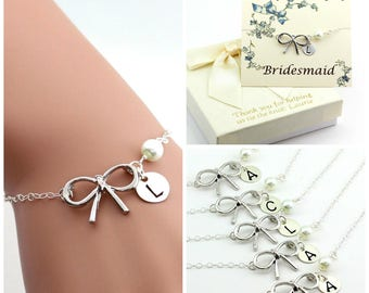 Free Shipping, Set of 5 personalized bow bracelets.Personalized sterling silver bow bracelet., monograme bracelet
