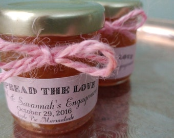 Pink Vintage Jam Favors/ 50 Spread The Love Favors / 1.5 Oz Ea/ Spring Wedding/ Pink Bridal or Pink Baby Shower / Engagement/ SAVE the DATE
