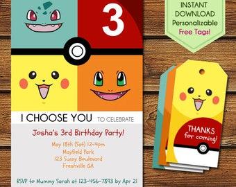 Pokemon Invitation + Free Pokemon Thank You Tags, Pokemon Birthday Invitations, Pikachu Invitation, Pokemon Go, Pokemon Printables