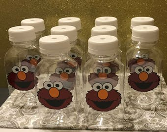 12- Elmo Sesame Street 8 oz or 12 ox Vinyl Cups Plastic Milk Bottles with Lids