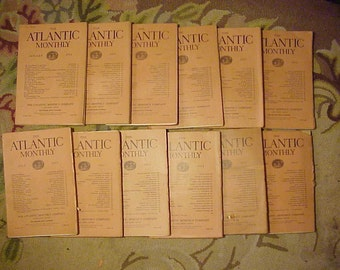 Full Year 1911 The Atlantic Monthly Magazines January - December published By Atlantic Monthly Boston, Antique Magazines with lots of Ads
